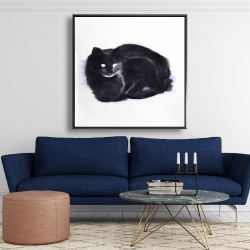 Framed 48 x 48 - Abstract watercolor cat