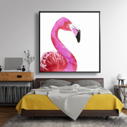 Framed 48 x 48 - Watercolor proud flamingo profile