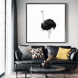 Framed 48 x 48 - Ostrich in watercolor