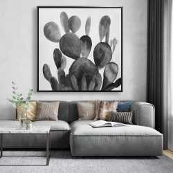 Framed 48 x 48 - Grayscale paddle cactus plant