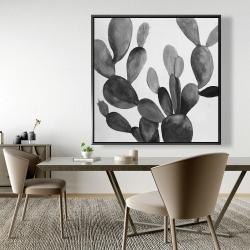 Framed 48 x 48 - Grayscale cactus