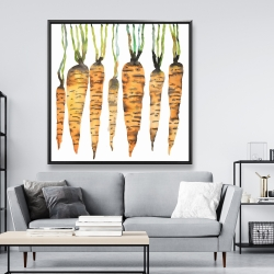 Framed 48 x 48 - Watercolor carrots