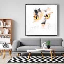 Framed 48 x 48 - Watercolor cat face closeup