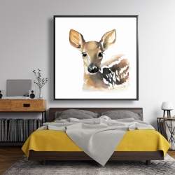 Framed 48 x 48 - Watercolor fawn face
