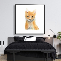 Framed 48 x 48 - Watercolor baby fox