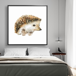 Framed 48 x 48 - Watercolor hedgehog