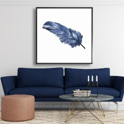 Framed 48 x 48 - Blue feather