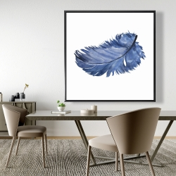 Framed 48 x 48 - Watercolor blue feather
