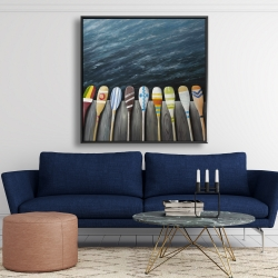 Framed 48 x 48 - Colorful paddles on the dock