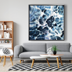 Framed 48 x 48 - Abstract stormy sea waves at tenerife sea