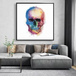 Framed 48 x 48 - Watercolor colorful skull
