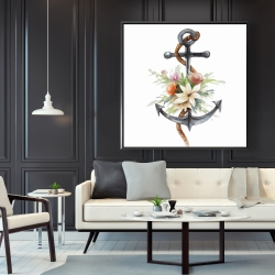 Framed 48 x 48 - Anchor with flowers