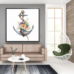 Framed 48 x 48 - Boat anchor with flowers