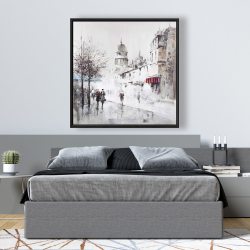 Framed 48 x 48 - Gray city street