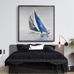 Framed 48 x 48 - Gray and blue boat sailing