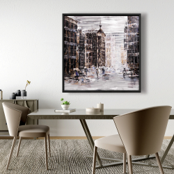 Framed 48 x 48 - Industrial abstract city