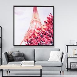 Framed 48 x 48 - Pink eiffel tower