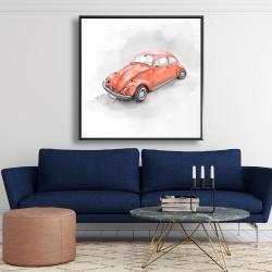 Framed 48 x 48 - Vintage red beetle