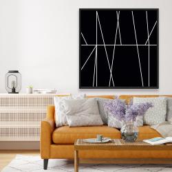 Framed 48 x 48 - White stripes on black background