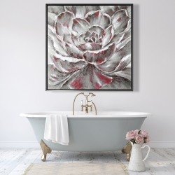 Framed 48 x 48 - Gray and pink flower