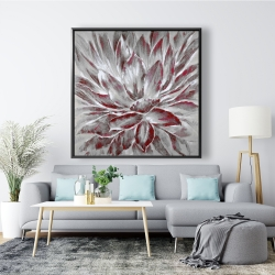 Framed 48 x 48 - Red and gray flower