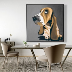 Framed 48 x 48 - Gold basset hound dog