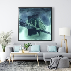 Framed 48 x 48 - Abstract view of brooklyn bridge