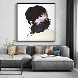 Framed 48 x 48 - Woman from behind with pink flowers