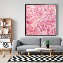 Framed 48 x 48 - Roses in watercolor