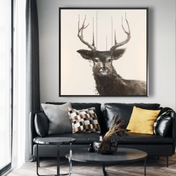 Framed 48 x 48 - Abstract deer