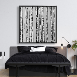 Framed 48 x 48 - Birches black and white