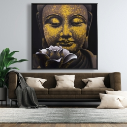 Framed 48 x 48 - The eternal smile of buddha and his lotus