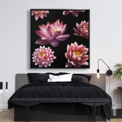 Framed 48 x 48 - Lotus flower pattern