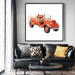 Framed 48 x 48 - Vintage fire truck
