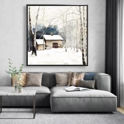 Framed 48 x 48 - Small winter barn