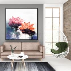 Framed 48 x 48 - Watercolor lotus flowers