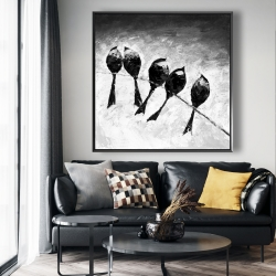 Framed 48 x 48 - Five birds perched