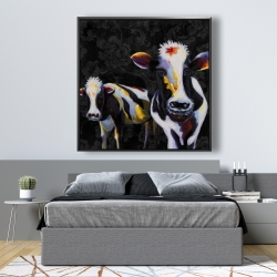 Framed 48 x 48 - Two funny cows victorian