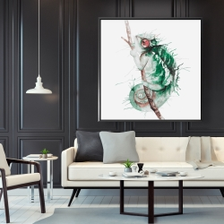 Framed 48 x 48 - Watercolor chameleon