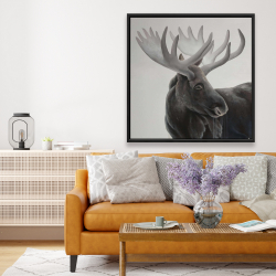 Framed 48 x 48 - Bull moose