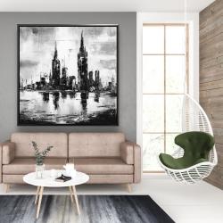 Framed 48 x 48 - Mono urban cityscape