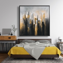 Framed 48 x 48 - Abstract gold skyscraper