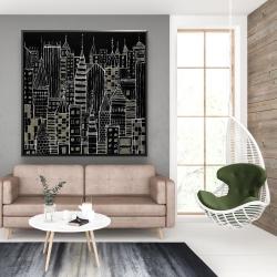 Framed 48 x 48 - Illustrative dark city