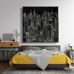 Framed 48 x 48 - Illustrative city towers