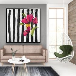 Framed 48 x 48 - Flowers on black and white stripes