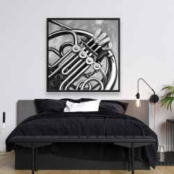 Framed 48 x 48 - Musician with french horn monochrome