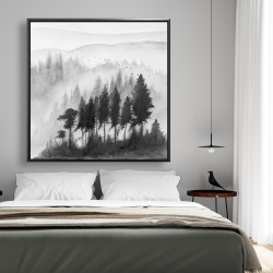 Framed 48 x 48 - Mono mountains landscape in watercolor