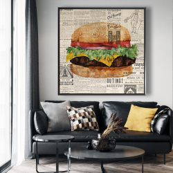 Framed 48 x 48 - Vintage style all dressed cheeseburger