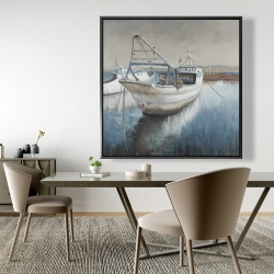 Framed 48 x 48 - Fishing boat desatured