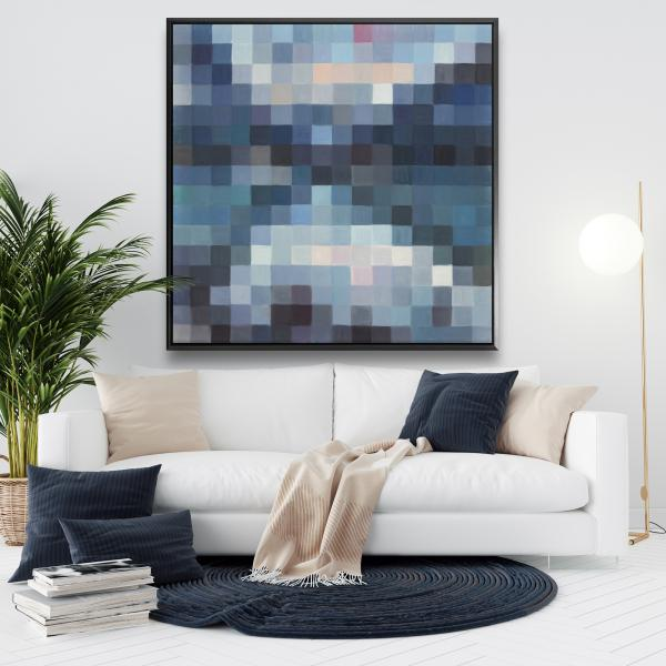 Framed 48 x 48 - Pixelated mountainous landscape